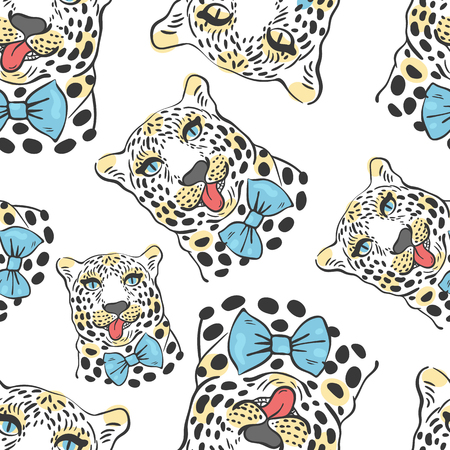 leopard:  pattern, seamless Wallpaper with a picture of the muzzle of the leopard with protruding tongue, bow tie