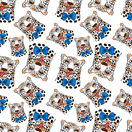 animal fur:   pattern, seamless Wallpaper with a picture of the muzzle of the leopard with protruding tongue, bow tie