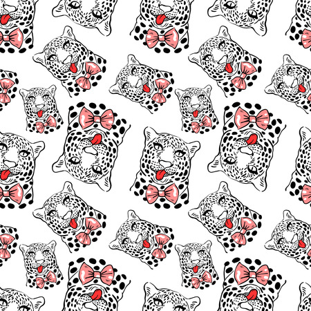 protruding:  pattern, seamless Wallpaper with a picture of the muzzle of the leopard with protruding tongue, bow tie