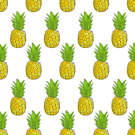 frutas divertidas: imprimir papel tapiz transparente con piña jugosa Vectores