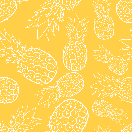 print seamless wallpaper with juicy pineapple