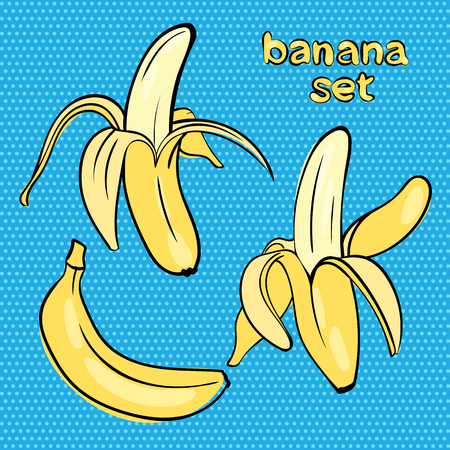 ripened:  bananas in different forms in the style of doodle