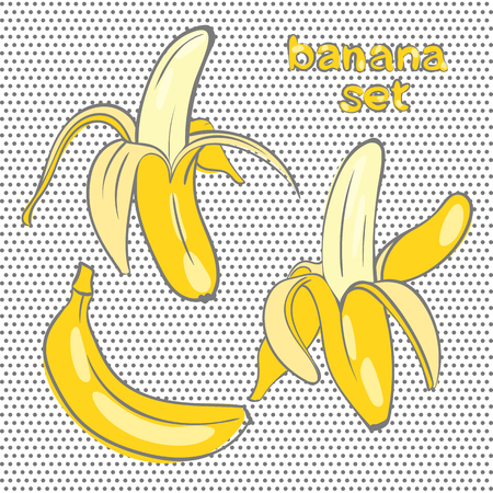 banana skin:  bananas in different forms in the style of doodle