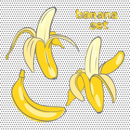 banane: bananes dans des formes diff�rentes dans le style de doodle Illustration