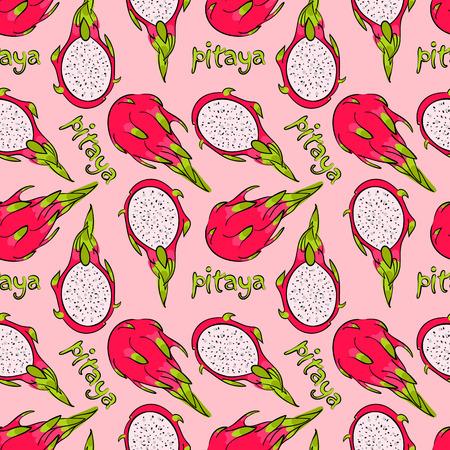 patroon, naadloos behang met het beeld van een exotisch fruit pitaya