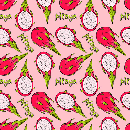 pattern, seamless wallpaper with the image of an exotic fruit pitaya Illustration