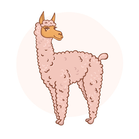 contented: Vector contented with furry llama muzzle style doodle Illustration