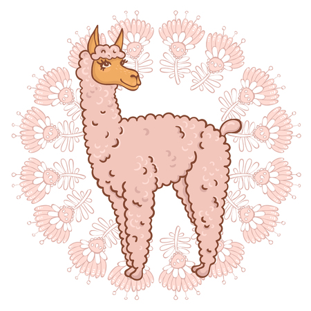 contented: Vector contented with furry llama muzzle style doodle in a round frame with flowers Illustration