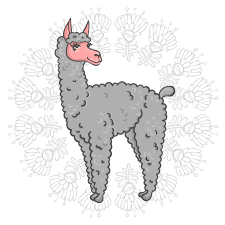 furry: Vector contented with furry llama muzzle style doodle in a round frame with flowers Illustration
