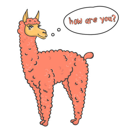 furry: Vector contented with furry llama muzzle style doodle  the dialog box and place for your text Illustration