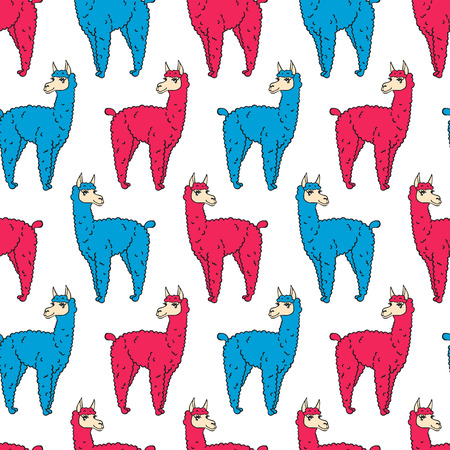 traditional culture: vector pattern, seamless wallpaper with the image of a fluffy llama