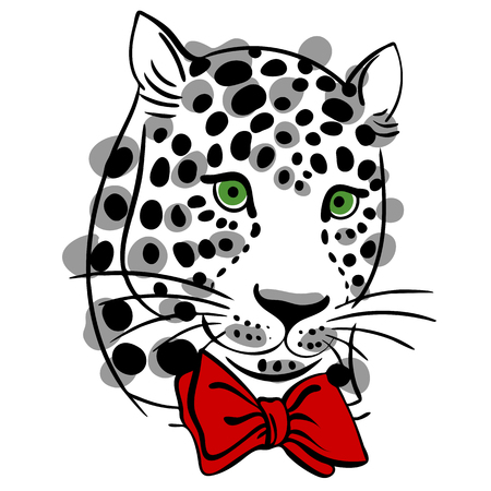 sweatshirts: vector illustration muzzle with a trendy leopard bow tie, a print for your t-shirts or sweatshirts