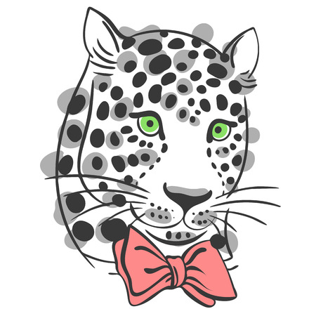 muzzle: vector illustration muzzle with a trendy leopard bow tie, a print for your t-shirts or sweatshirts