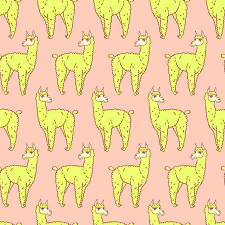 llama: vector pattern, seamless wallpaper with the image of a fluffy llama
