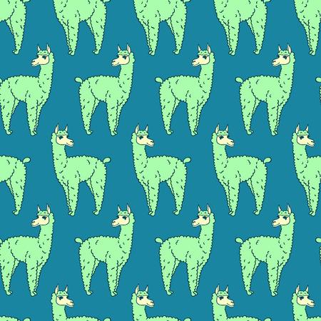 llama: vector pattern, seamless wallpaper with the image of a fluffy llama