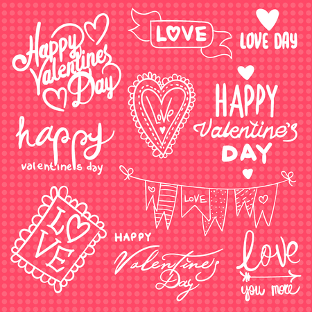 vector vector set with labels for valentines day phrases for greeting cards lettering calligraphy