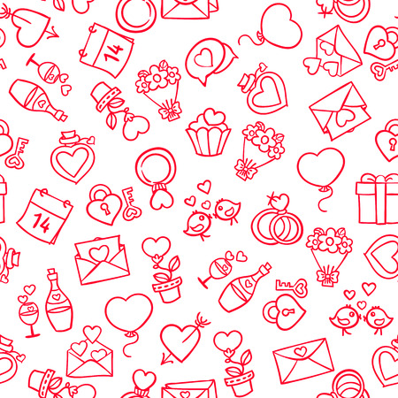 amur: vector pattern, seamless Wallpaper on the theme of Valentines day, hearts, cards, flowers, romantic, love Illustration