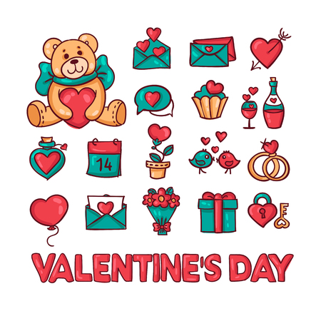 romance: set of vector icons for Valentines day, a love theme, gifts, hearts, romance