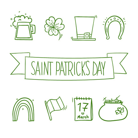 patrik day: icons for St. Patricks day Doodle style