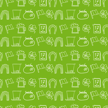 festal: Vector pattern, seamless Wallpaper for the holiday St. Patricks day, seamrog, seamair Illustration
