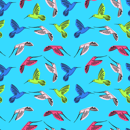 flit: Hummingbird seamless pattern Illustration