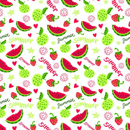 summer fruits: summer fruits seamless print Illustration