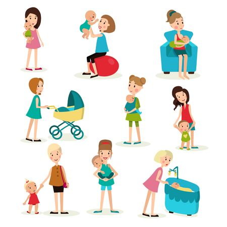 illustration set of nine elements, women and children in various poses, with a stroller, sling, crib, on the ball aerobics, chair nursing