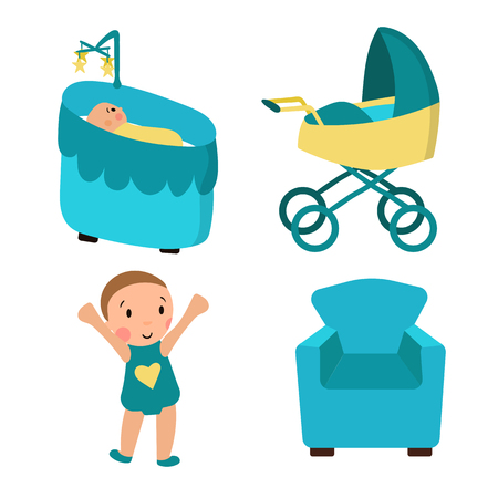 illustration in the style of cartoon, child, chair, stroller, cradle