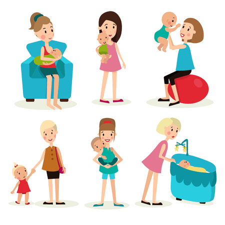 tenderness: illustration set of the six elements, women and children in various poses