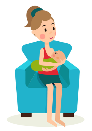 illustration women and children in various poses, with a stroller, sling, crib, on the ball aerobics, chair nursing