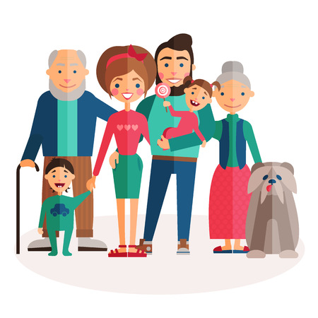 dad son: the image of the big happy family with pet dog, grandma and grandpa, mom and dad, son and daughter, brother and sister, parents, dog, in the style of a flat cartoon Illustration