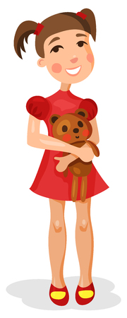 beautiful happy girl with Teddy bear in hands, in a red dress