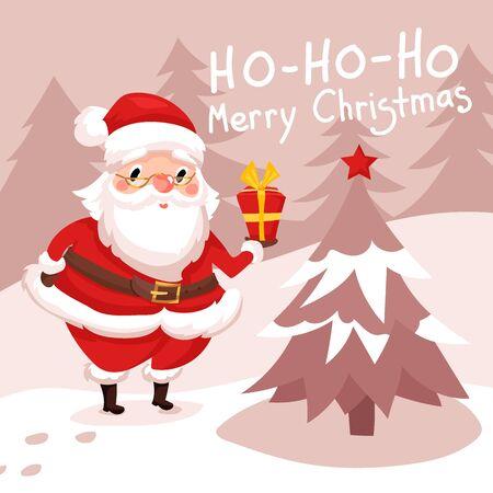 Santa drops gifts. Christmas greeting card background poster Illustration