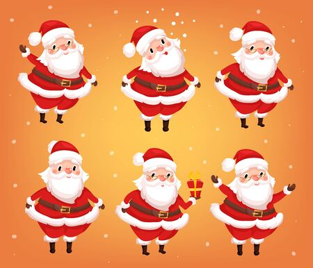 set of Santa clauses in different poses. Christmas greeting card background poster Illustration
