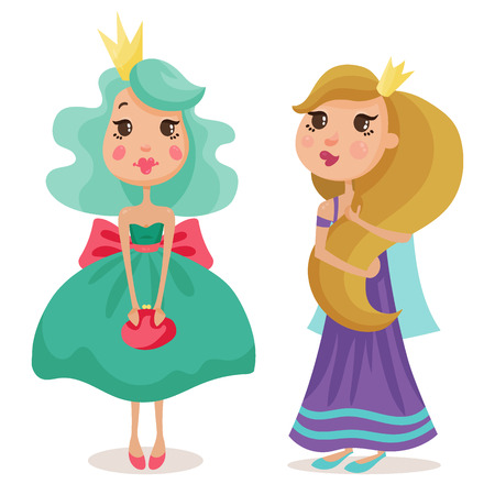 collection of beautiful princesses in elegant dresses