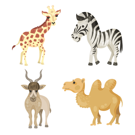 sloth: a large collection of endangered animals, giraffe, sloth, Zebra, gorilla, Rhino, Panda, elephant, addax antelope, camel, sea lion, humpback whale, turtle Stock Photo