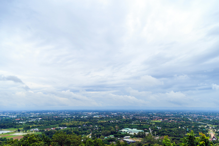 Chiang Mai city against the sky view from mountain in the morning. Stock Photo