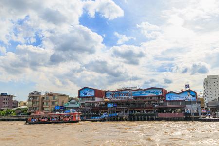 Bangkok, Thailand - August 13, 2017 : The Chao Phraya River Ferry is docking at Ta Wang Lang Waterfront in Bangkok Thailand. Editorial