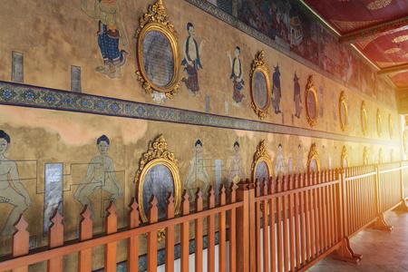 The Art Mural Point massage paintings on the wall at Wat Pho Bangkok, Landmark in Bangkok Thailand.