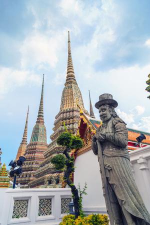 Chinese philosopher statue in Wat Pho Bangkok Thailand. Stock Photo