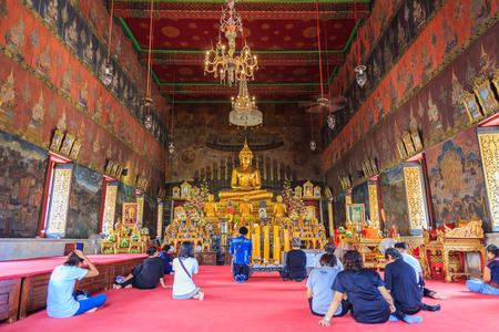 Bangkok, Thailand - August 13, 2017 : People come to pray for blessings in the church in the Buddhist temple.