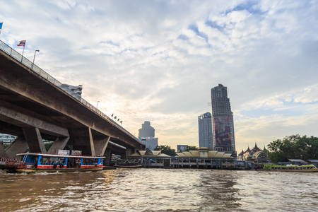 Bangkok ,Thailand - August 31, 2017 : The ferry is docking at Chao Phraya River at the morning. Editorial