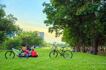 Couple bicycle on the lawn with asian people are relaxing on the lawn in the park on weekend.