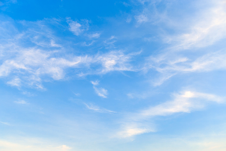 A beautiful cirrostratus clouds on a bright sky. Stock Photo