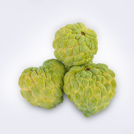 Group of custard_apple isolated on white background.