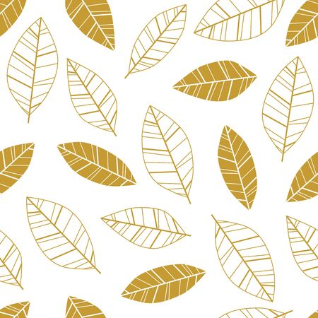 abstract paintings: Gold seamless vector pattern with leafs Illustration