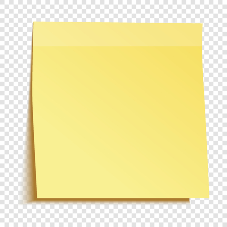 Gele kleverige die nota op transparante achtergrond wordt geïsoleerd. Sjabloon voor uw projecten. Vector illustratie.