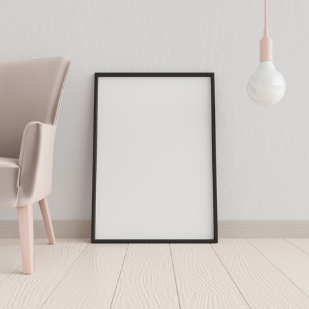 Mockup poster in the interior with a lamp and a chair in trendy colors, 3D rendering