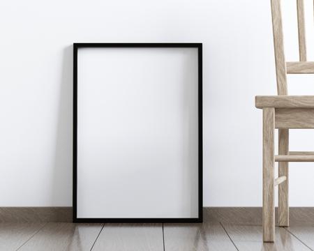 wooden floors: Mockup of a blank frame poster on the floor, 3D rendering