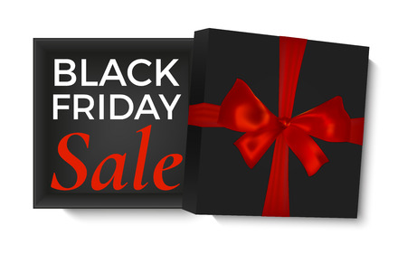 Black friday sale design. Opened black gift box with red ribbon and realistic bow, isolated on white background. Poster, brochure or banner template.